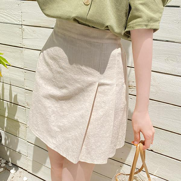sk4179 린넨혼방으로 완성된 걸리쉬무드의 하프 플리츠주름 백밴딩 미니스커트 skirt