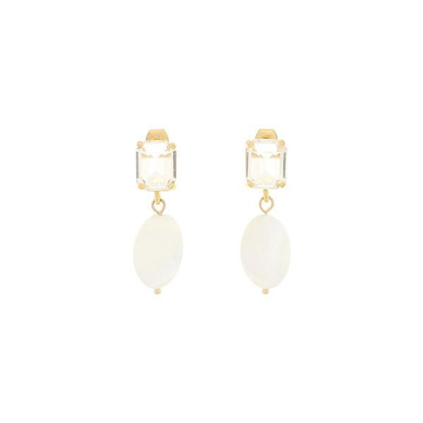 ac4549 은은한 빛이나는 스퀘어 쉐입의 큐빅과 자개 포인트 드롭 이어링 earring