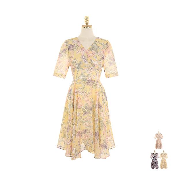 op9369 화사한 플라워 패턴으로 완성된 플레어 라인 원피스 dress