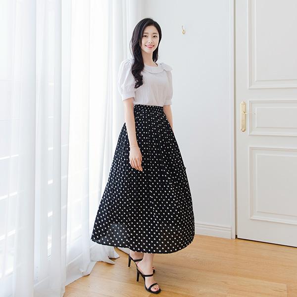 sk4191 시원하고 편하게 입기좋은 밴딩디자인의 땡땡이 도트패턴 플리츠 롱스커트 skirt