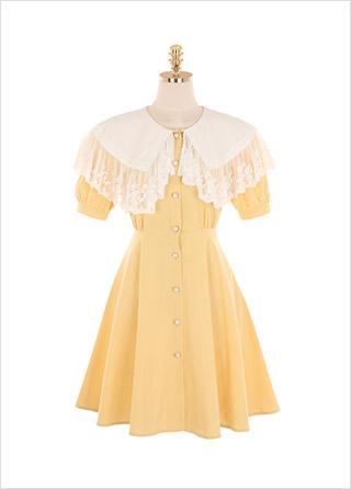 op9377 러블리한 레이스 카라 디자인의 플레어 미니 원피스 dress