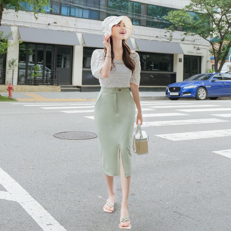 sk4208 슬릿포인트 디테일과 린넨처럼 시원한 H라인 미디롱기장 하이웨스트 코튼스커트 skirt