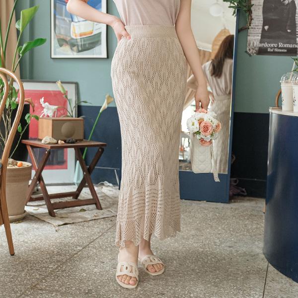 sk4204 여신미 가득 느껴지는 스카시 니트 펀칭 롱스커트 skirt