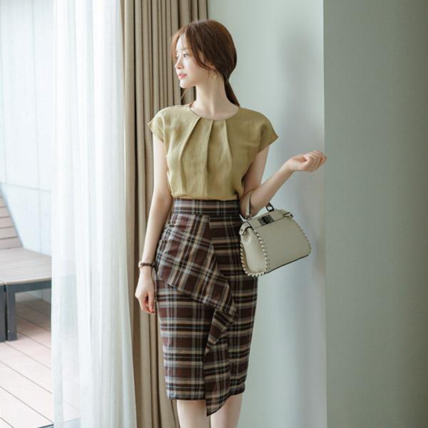 sk4205 감각적인 컬러 배색의 프론트 러플 체크스커트 skirt