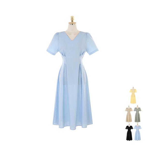 op9381 핀턱 디테일로 잘록한 허리 라인이 연출되는 롱 플레어 원피스 dress