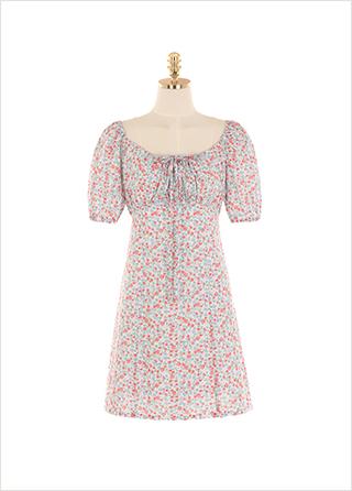 op9398 입는 순간 러블리 지수 상승하는 플라워 패턴 셔링 미니 원피스 dress