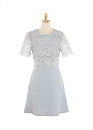 op9459 페미닌한 무드가 느껴지는 레이스 배색 A라인 미니 원피스 dress