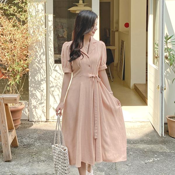op9437 걸리시한 퍼프소매와 부드러운 텍스쳐의 카라넥 A라인 롱원피스 dress