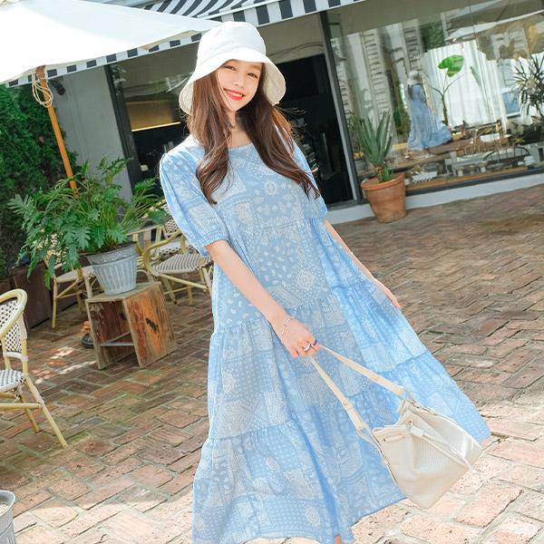 op9464 입는 순간 청량감 가득 쿨링한 소재감의 페이즐리 패턴 라운드넥 롱 원피스 dress