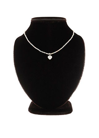 ac4586 은은한 반짝임이 사랑스러운 레인보우 비즈 하트 네크리스 necklace