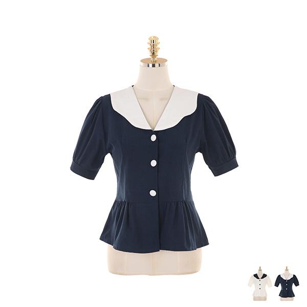 bs5277 배색 둥근 카라 디자인의 페플럼 반팔 블라우스 blouse