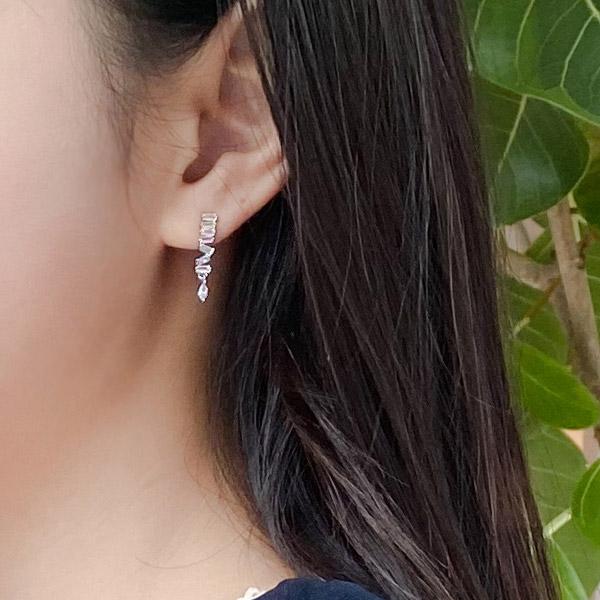 ac4588 다양한 컬러로 포인트를 준 세련된 무드의 큐빅장식 드롭 이어링 earring