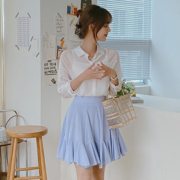 bs5303 베이직한 나시와 실키한 패브릭의 뒷리본 포인트 셔츠 세트 blouse set