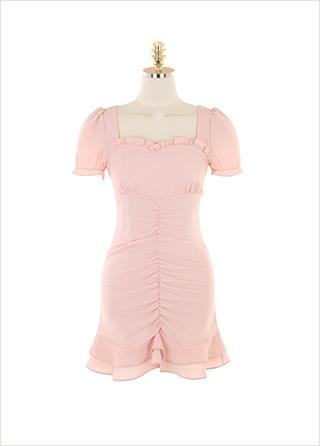 op9521 사랑스러움이 느껴지는 프릴 하트넥 디자인의 셔링 미니 원피스 dress