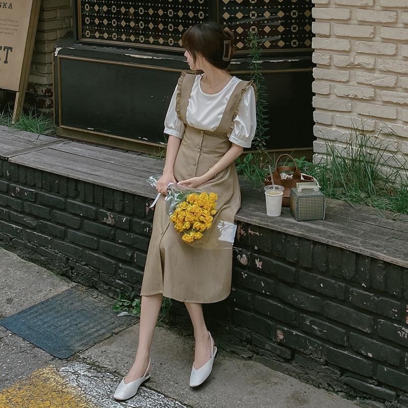 op9633 로맨틱한 퍼프 블라우스와 러플 서스펜더 A라인 롱 원피스 세트 dress