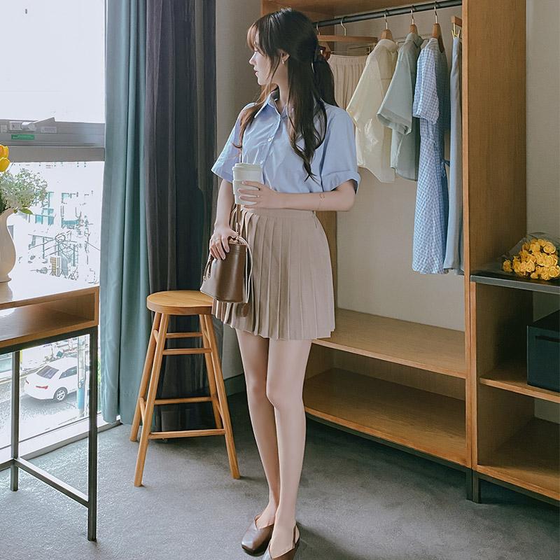 sk4238 걸리쉬한 무드로 완성된 플리츠 디자인의 백밴딩 A라인 미니 스커트 skirt