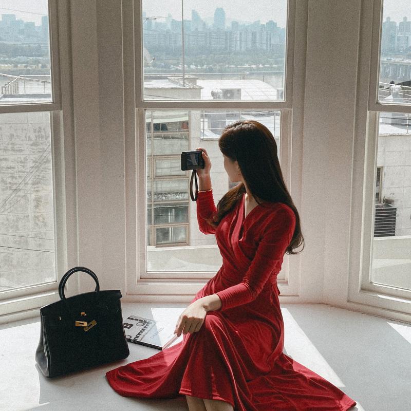 op9683 매끈하고 부드러운 촉감의 랩 디자인 리본스트랩 데일리 긴팔 롱원피스 dress