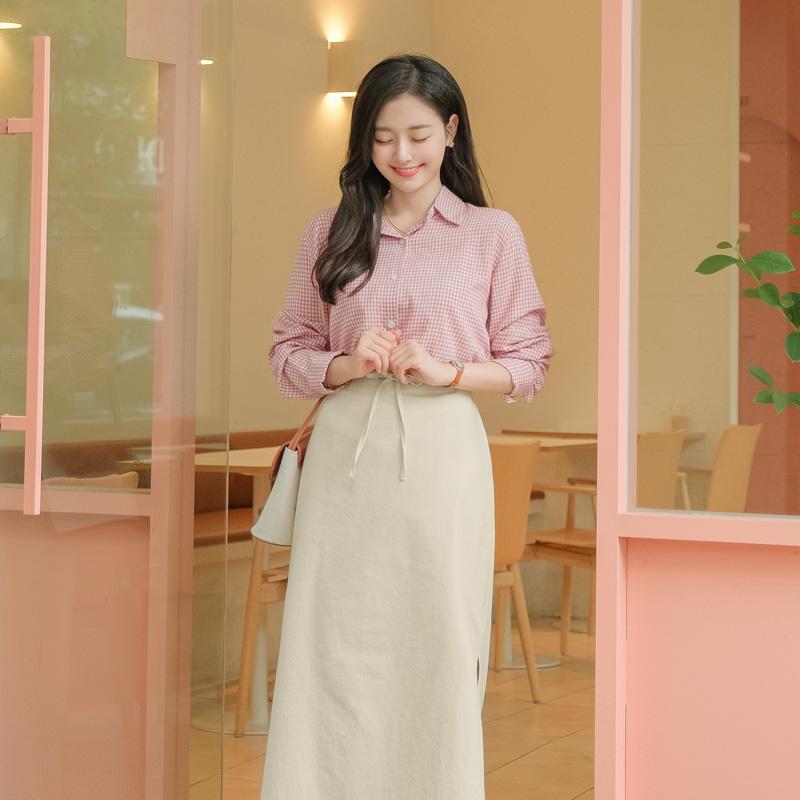 bs5339 캐주얼한 체크 패턴과 얇은 코튼 패브릭의 긴팔셔츠 blouse