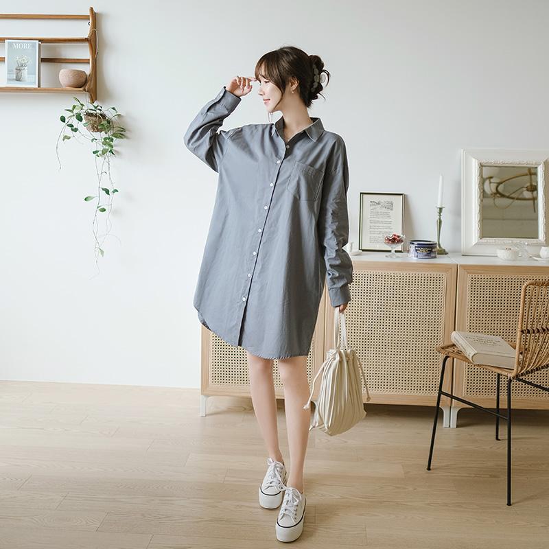 op9692 깔끔한 무드와 소프트한 코튼 소재로 완성된 박시핏 베이직 긴팔 셔츠원피스 dress