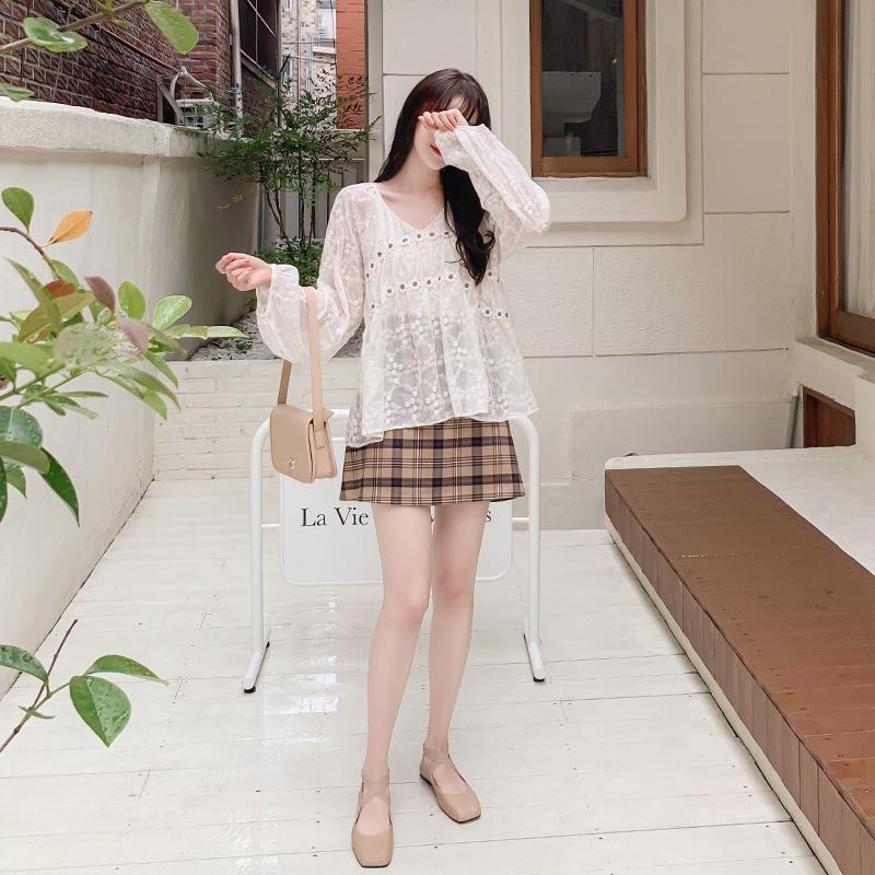sk4262 감각적인 체크 배색의 세미 A라인 밴딩 미니 큐롯 숏팬츠 skirt