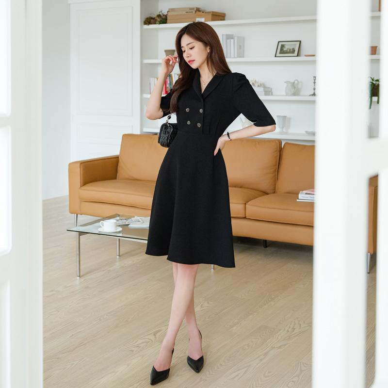 op9716 감각적인 숄카라 디자인의 더블 버튼 포인트 플레어 미디롱원피스 dress
