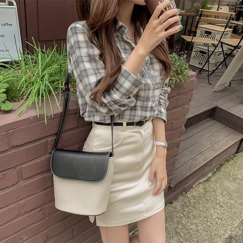 bs5377 가볍고 부드러운 코튼 소재의 체크패턴 포인트 긴팔셔츠 blouse