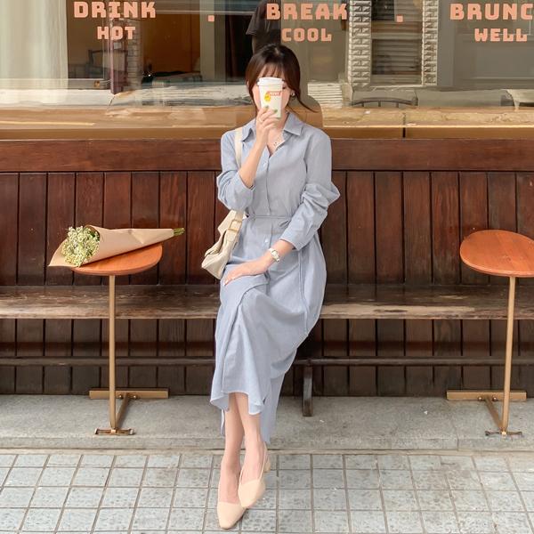op9733 은은한 스트라이프 패턴의 벨트 스트랩 일자핏 롱 셔츠 원피스 dress