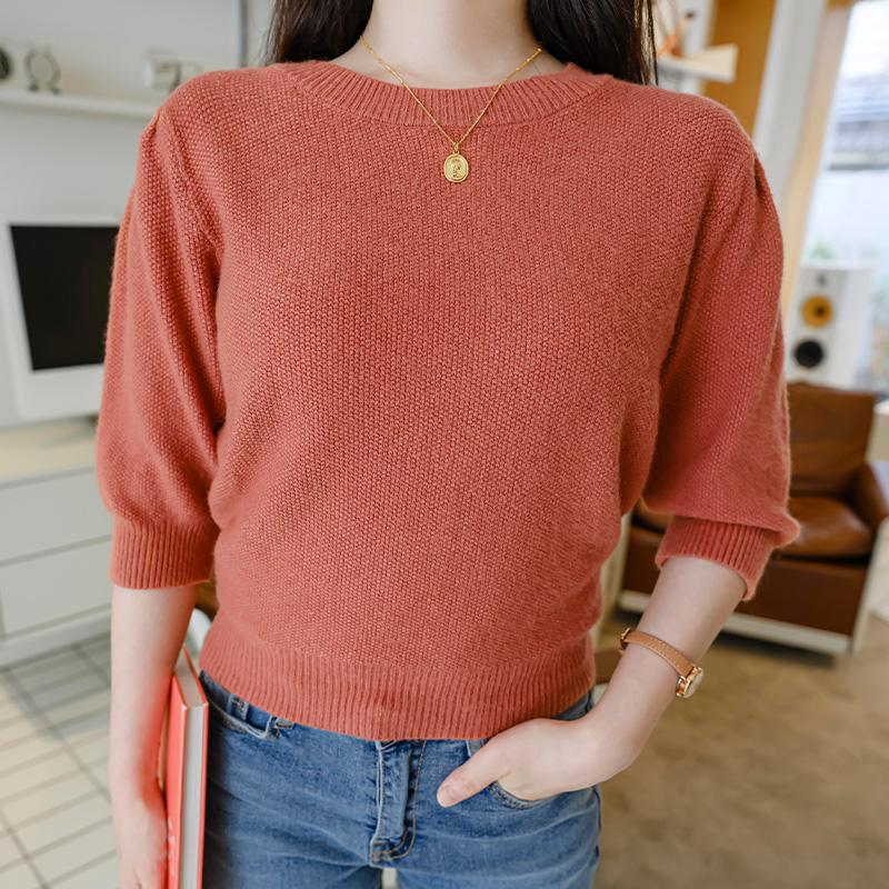 nt2262 말랑함과 부드러움 가득한 퍼프 5부소매 라운드 크롭니트 knit