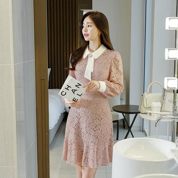 op9769 스페셜한 진주타이 장식의 레이스 밑단프릴 미디원피스 dress