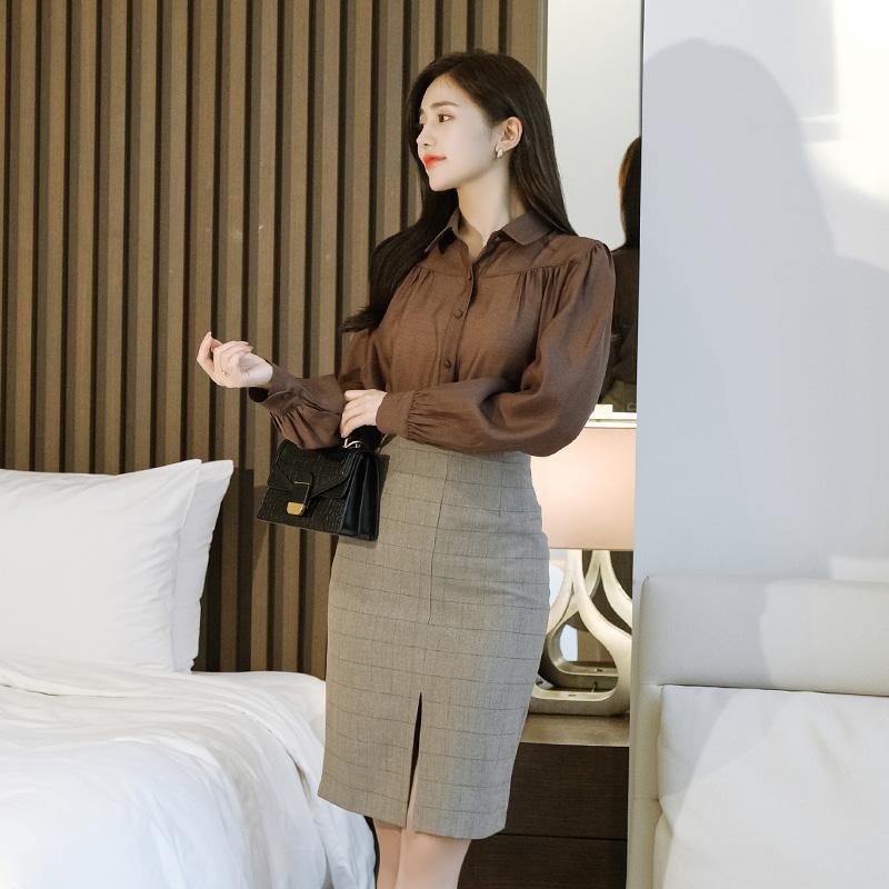 sk4286 클래식한 체크패턴의 앞트임 H라인 미디롱스커트 skirt
