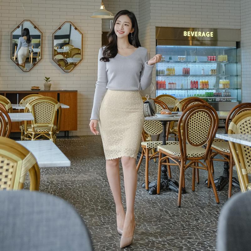 sk4290 섬세한 웨이빙 플라워 레이스와 쫀득한 신축성의 미디기장 H라인스커트 skirt