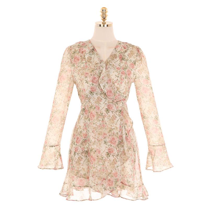 op9797 로맨틱한 플라워 패턴의 랩 스타일 쉬폰 미니 원피스 dress