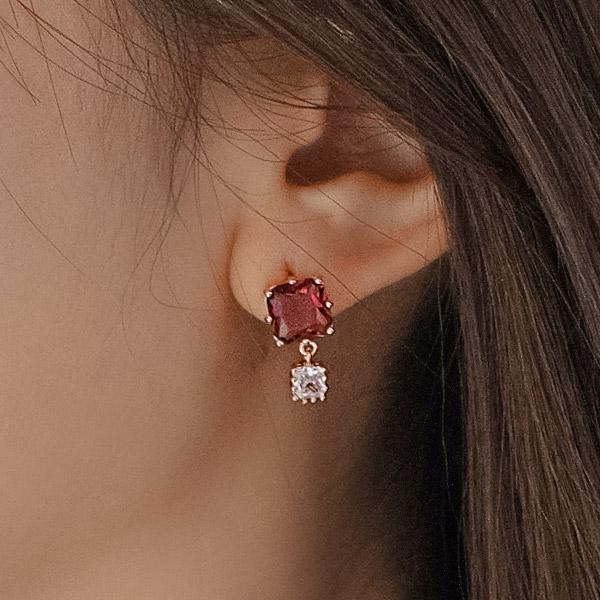 ac4667 반짝이는 미니 스퀘어 큐빅 드롭 은침 이어링 earring
