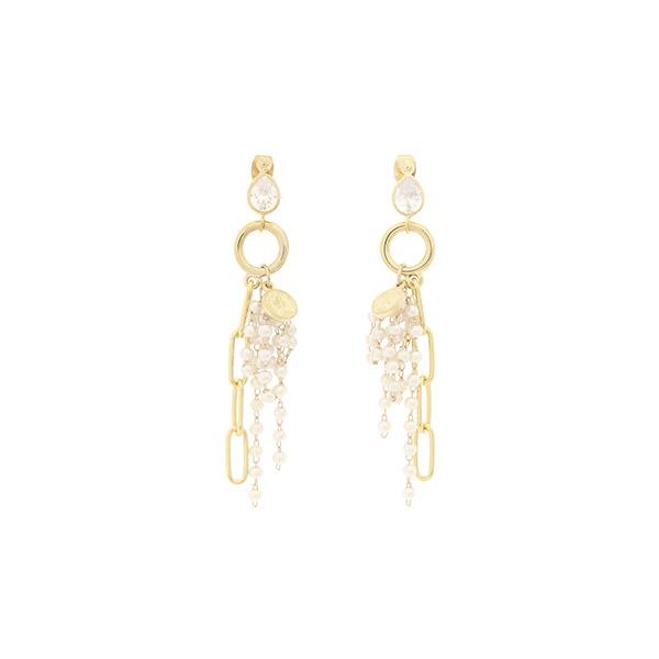 ac4665 고져스한 무드의 볼드한 진주볼 장식과 골드 포인트로 완성된 물방울 드롭 이어링 earring