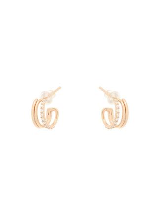 ac4688 트리플 라인의 큐빅 세팅 모던 실버 이어링 earring