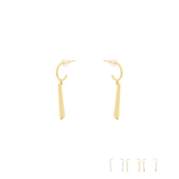 ac4689 심플하고 세련된 C링 아래로 은은하게 빛나는 스틱 드롭 실버 이어링 earring