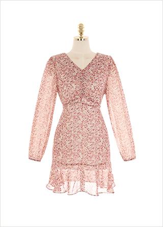 op9803 은은한 잔꽃 패턴의 가슴 셔링 쉬폰 미니 원피스 dress