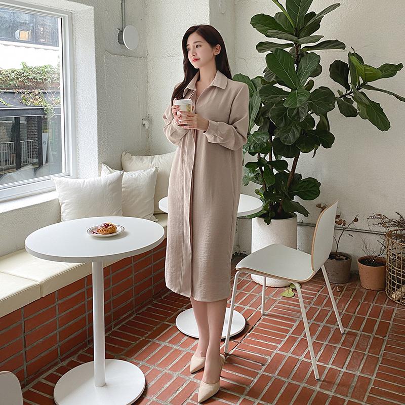 op9835 모던한 분위기의 벨트세트 일자핏 미디롱 셔츠원피스 dress