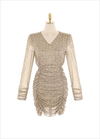 op9804 밴딩 셔링 디테일의 잔꽃 패턴 쉬폰 미니 원피스 dress