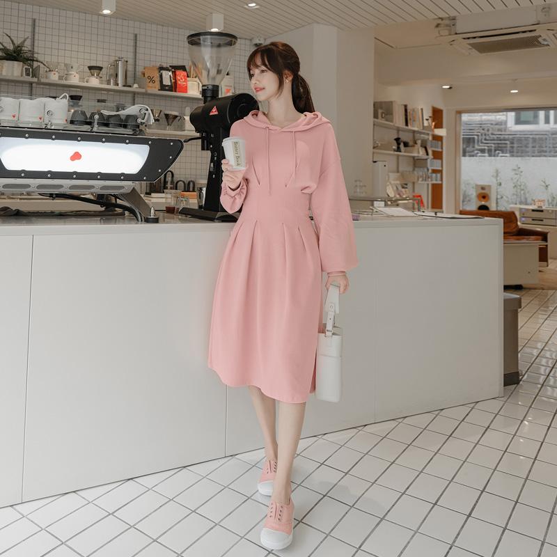 op9847 러블리한 매력의 허리 핀턱 포인트 A라인 후드 미디원피스 dress