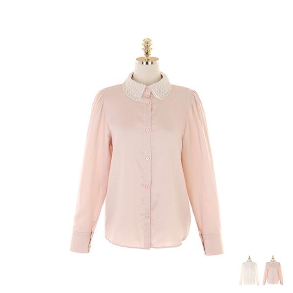bs5449 블링블링한 배색 카라 디자인의 페미닌 블라우스 blouse