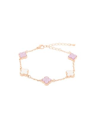 ac4699 로맨틱한 핑크빛 무드로 완성된 네잎클로버 큐빅 브레이슬릿 bracelet