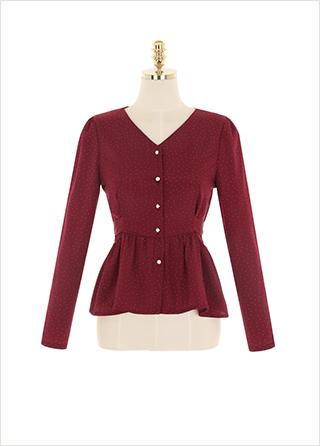 bs5450 아기자기한 도트 패턴의 페플럼 백리본 블라우스 blouse
