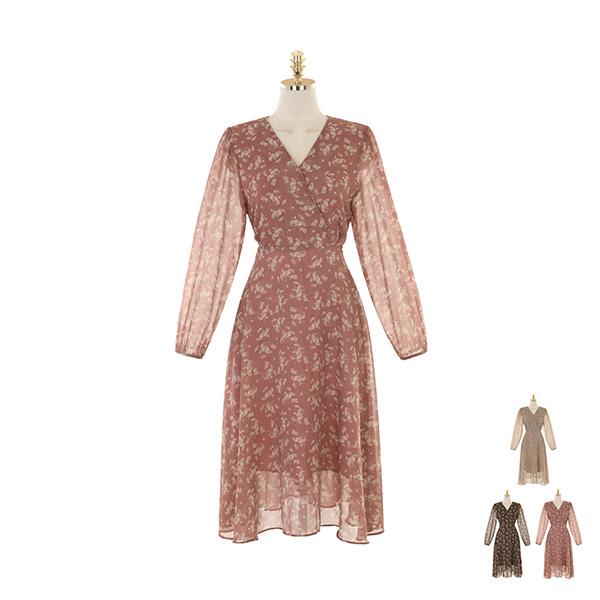 op9876 가을 여신을 만들어줄 플라워 패턴 쉬폰 롱 원피스 dress