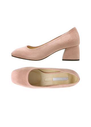 sh2005 소프트한 소재감으로 페미닌한 무드까지 담은 스웨이드 스퀘어토 미들힐 shoes