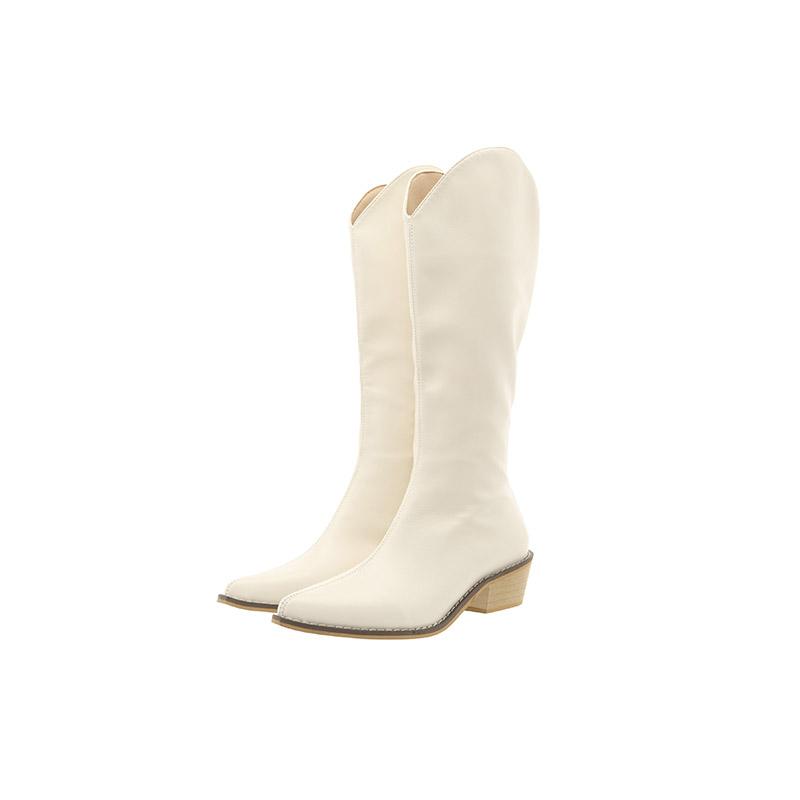 sh2015 내추럴한 광택과 멋스러운 주름 디테일의 v컷팅 미들굽 웨스턴 롱부츠 shoes