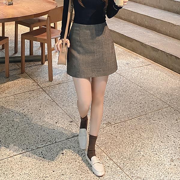 sk4326 고급스러운 잔체크패턴의 데일리하게 입기 좋은 세미 A라인 미니스커트 skirt
