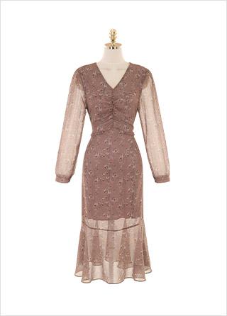 op9921 로맨틱한 셔링 디테일이 돋보이는 뒷리본 V넥 플레어 롱원피스 dress