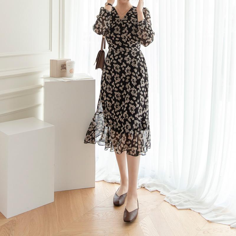 op9926 빈티지한 플라워 패턴으로 완성된 뒷리본 A라인 롱원피스 dress