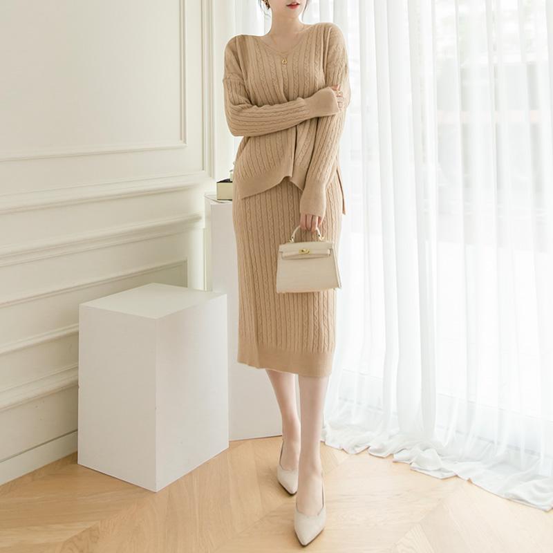 op10006 편안하게 입기좋은 포근한 골지 짜임의 V넥라인 니트 투피스 세트 dress